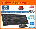 HP KM100 USB Wired 104 Keys Membrane Keyboard And 1600dpi Mouse Set Water-proof For Office Gaming
