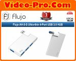Flujo AH-3-S 4-Port Ultra Slim Data HUB Rotatable Aluminum Silver USB 3.0 HUB with Swiveling Connector for Surface Pro, MacBook, Notebook and Laptop