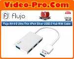 Flujo AH-4-S Ultra-Thin 4Port Silver USB3.0 Hub With Cable